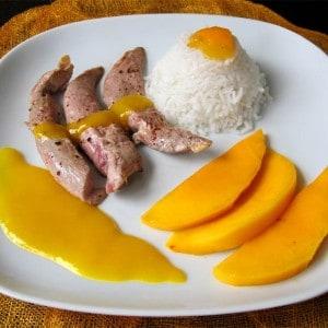 Aiguillettes de canard à la mangue
