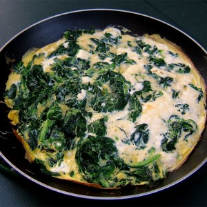 Omelette chèvre-épinards