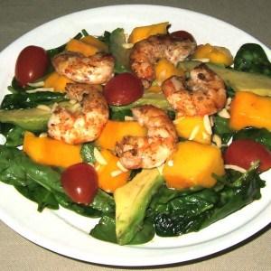 Salade exotique aux gambas