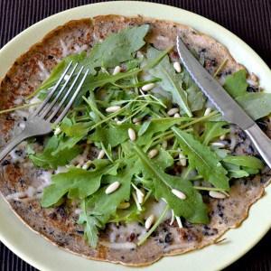 Crêpe façon pizza végétarienne