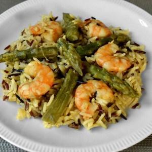 Risotto express aux crevettes et aux asperges vertes