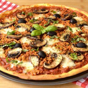 pizza aux champignons et haché végé