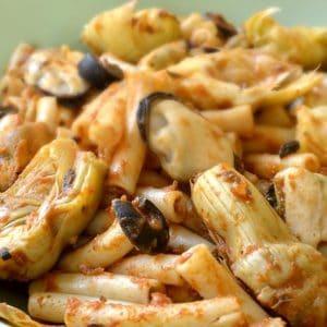 Pâtes aux moules et aux artichauts