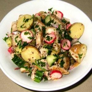 Salade de pommes de terre et maquereaux fumés