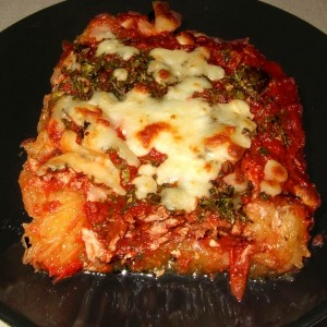 Gratin de courge spaghetti tomate et thon