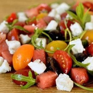 Salade de tomate et pastèque à la grecque