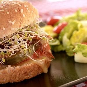 Hamburger à l'effilochée de porc