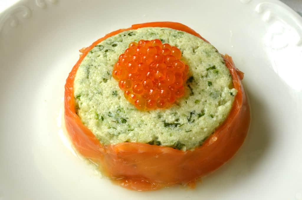 Aspic de concombre et saumon