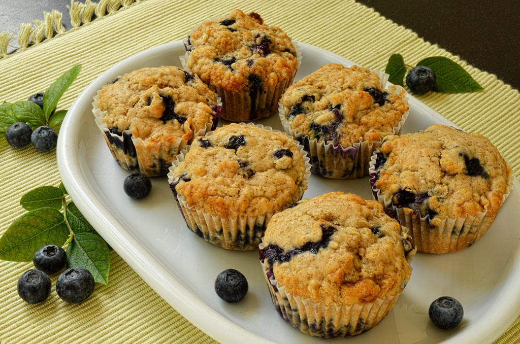 Muffins aux myrtilles ou bleuets sans œuf et sans lactose