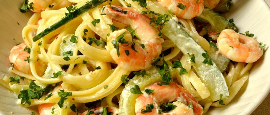 linguine aux crevettes et concombre